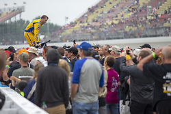June 10, 2018 - Brooklyn, Michigan, United States of America - Ty Dillon (13) waits for the start of the FireKeepers Casino 400 during a weather delay at Michigan International Speedway in Brooklyn, Michigan. (Credit Image: © Stephen A. Arce/ASP via ZUMA Wire)