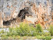 The hermitage cave and church at lake Megali Prespa Macedonia, Greece