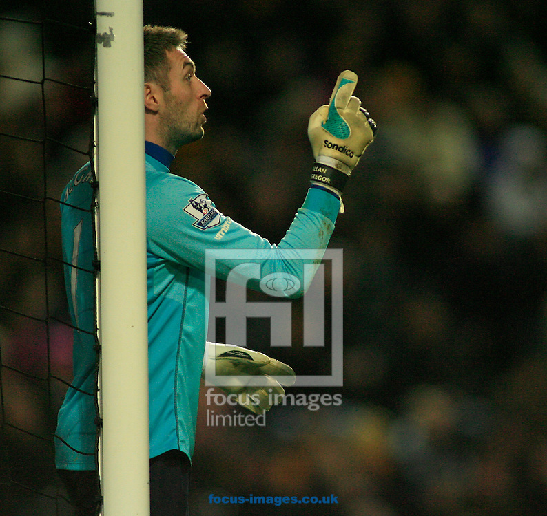 Allan McGregor of Hull City lines his wall before a free kick during the Barclays Premier League match at KC Stadium, Hull<br /> Picture by Richard Gould/Focus Images Ltd +44 7855 403186<br /> 01/01/2015