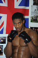 Picture by Alan Stanford/Focus Images Ltd +44 7915 056117<br /> 30/09/2013<br /> Anthony Joshua MBE poses for the camera before his  media workout at Gator ABC, Hainault, Essex..