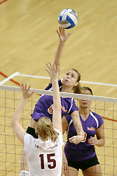 24 November 2006: Anne Teegardin tips one over the hands of Shandra Harper during a Quarterfinal match between the Evansville University Purple Aces and the Missouri State University Bears.The Tournament was held at Redbird Arena on the campus of Illinois State University in Normal Illinois.<br />