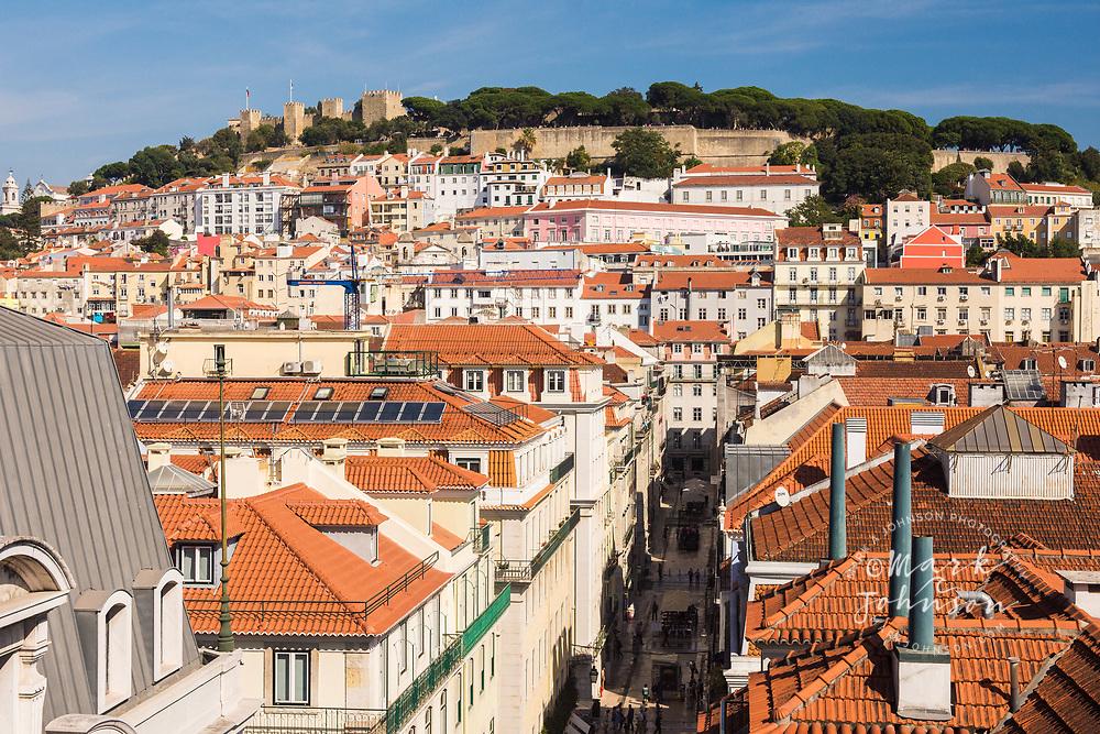 View of Lisbon and Castelo de Sao Jorge, Lisbon, Portugal