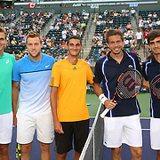 March 19, 2016, Palm Springs, CA:<br /> A coin toss before the men's doubles final between Jack Sock and Vasek Pospisil and Nicolas Mahut and Pierre-Hugues during the 2016 BNP Paribas Open at the Indian Wells Tennis Garden in Indian Wells, California Saturday, March 19, 2016.<br /> (Photos by Billie Weiss/BNP Paribas Open)