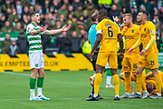Ryan Christie (#17) of Celtic FC appeals to Marvin Bartley (#6) of Livingston FC and other Livingston players, after he is shown a straight red card, during the Ladbrokes Scottish Premiership match between Livingston FC and Celtic FC at The Tony Macaroni Arena, Livingston, Scotland on 6 October 2019.