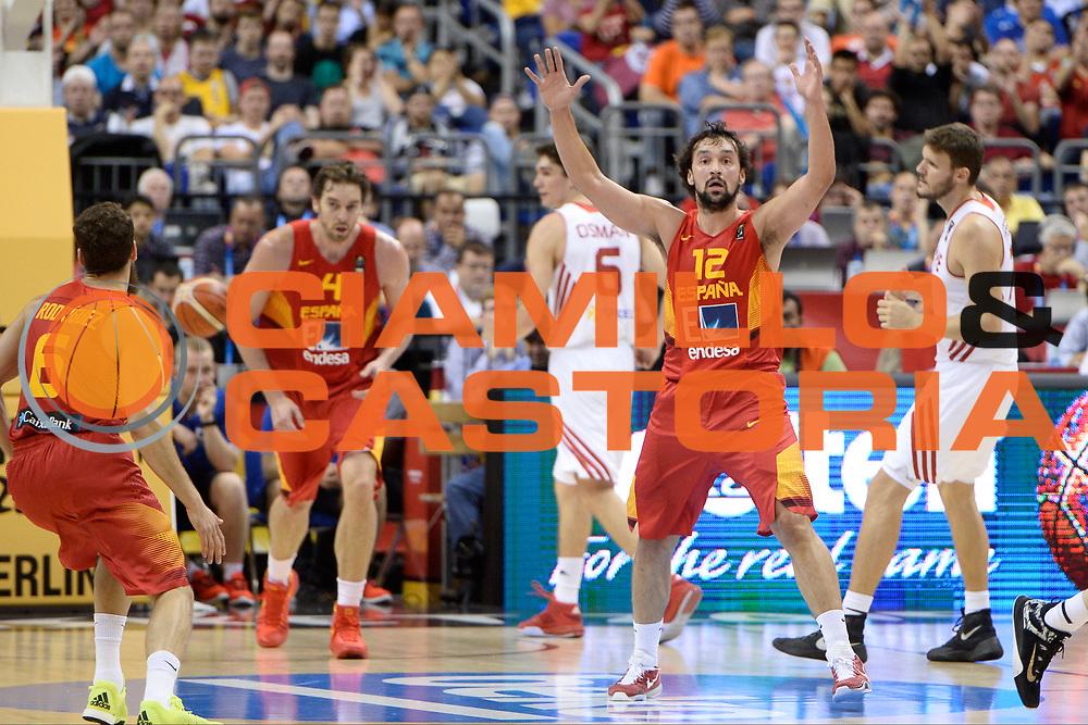 DESCRIZIONE: Berlino EuroBasket 2015 - <br /> Turkey Spain<br /> GIOCATORE: Sergio Llull<br /> CATEGORIA: Esultanza curiosita<br /> SQUADRA: Spain<br /> EVENTO: EuroBasket 2015 <br /> GARA: Berlino EuroBasket 2015 - Turkey vs Spain<br /> DATA: 06-09-2015 <br /> SPORT: Pallacanestro <br /> AUTORE: Agenzia Ciamillo-Castoria/I.Mancini <br /> GALLERIA: FIP Nazionali 2015 FOTONOTIZIA: Berlino EuroBasket 2015 - Turkey vs Spain