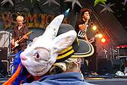 A figure wearing both a hat and a rabbit mask watches a performance at the festival, Boomtown, Matterley Estate, Alresford Road, near Winchester, Hampshire, UK, August, 2010