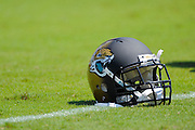 A Jacksonville Jaguars helmets sits not he field during the Jags 28-2 loss to the Kansas City Chiefs at EverBank Field on Sept. 8, 2013 in Jacksonville, Florida. The <br /> <br /> ©2013 Scott A. Miller