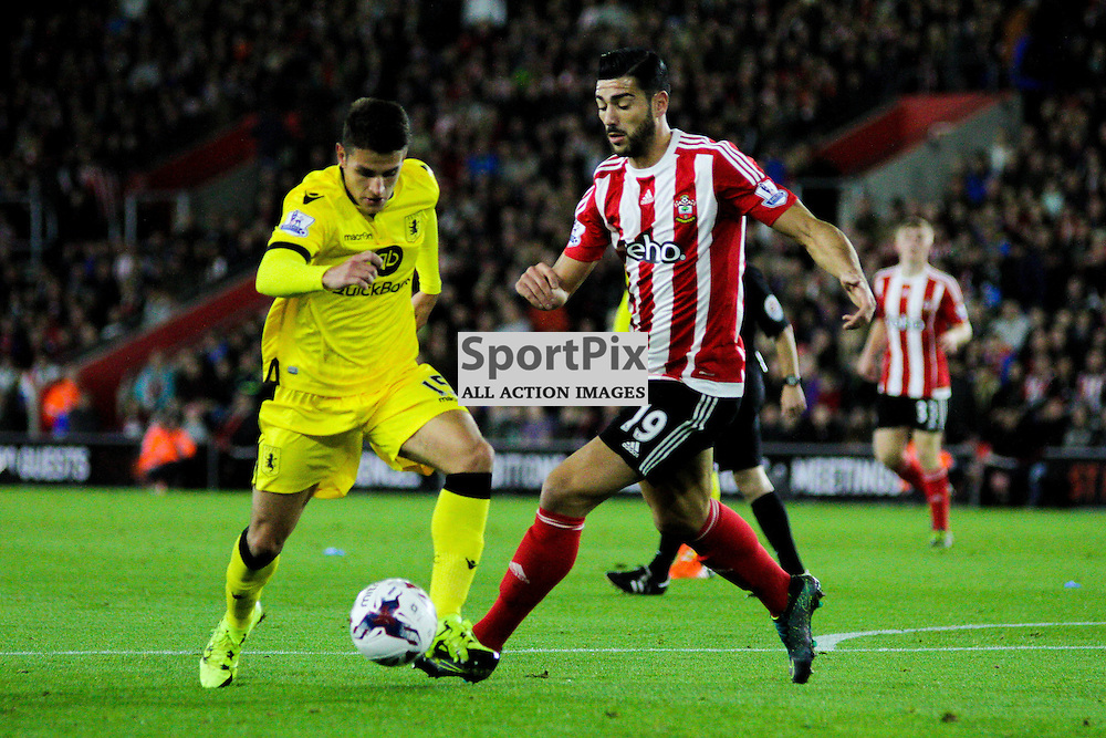 Graziano Pelle closes down Jose Angel Crespo During Southampton vs Aston Villa on Wednesday the 28th October 2015.