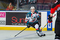 KELOWNA, CANADA - FEBRUARY 8: Michael Farren #16 of the Kelowna Rockets skates against the Prince George Cougars  on February 8, 2019 at Prospera Place in Kelowna, British Columbia, Canada.  (Photo by Marissa Baecker/Shoot the Breeze)