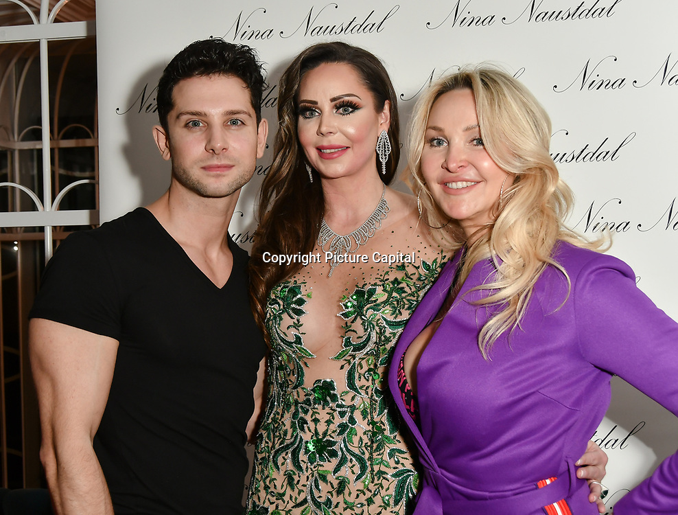 Oliver Smiles, Nina Naustdal and Heather Bird attend Nina Naustdal catwalk show SS19/20 collection by The London School of Beauty & Make-up at Bagatelle on 26 Feb 2019, London, UK.