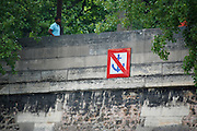 France, Paris, Seine River Traffic sign No docking