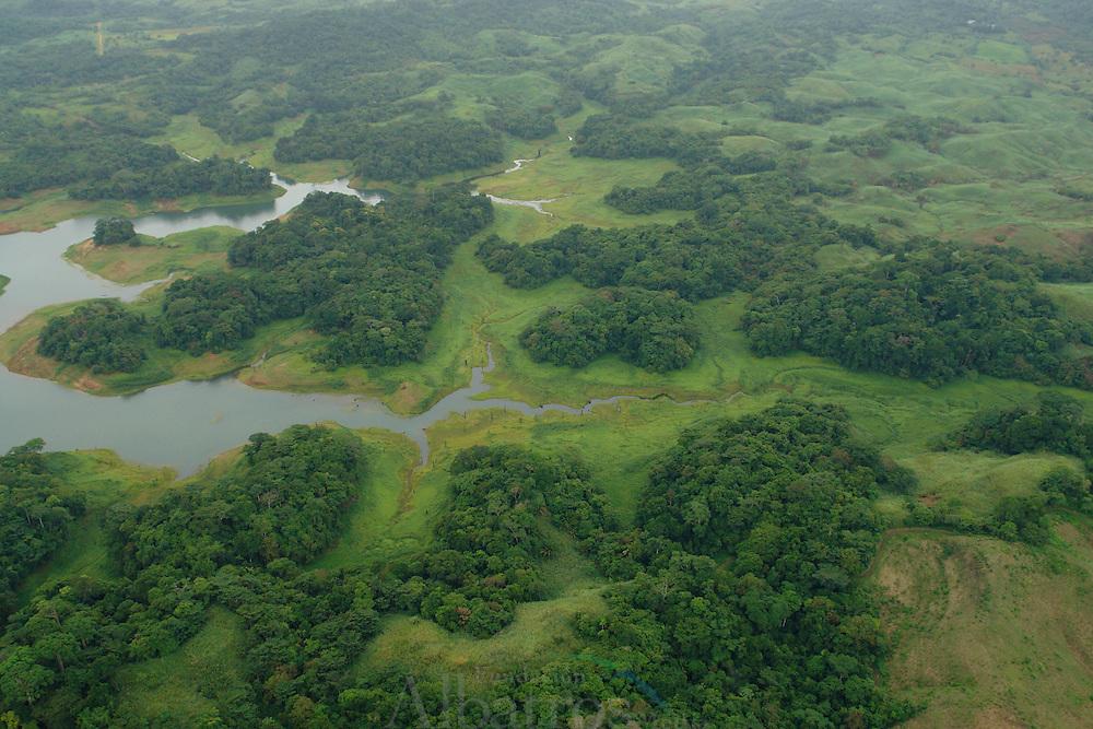 El río Chagres se localiza al oriente de Panamá. En su curso medio se encuentra la represa de Gatún, con la cual se formó el lago artificial Gatún, que conforma el canal de Panamá. Desemboca al noroeste en el mar Caribe.<br /> <br /> Fue descubierto en 1502 por Cristóbal Colón, quien le dio el nombre de Río de los lagartos por los cocodrilos que allí encontró. <br /> <br /> Su cuenca está cubierta por espesos bosques tropicales.<br /> <br /> En su cauce se transportaron mercancías que venían de la ciudad de Panamá a pie llegando al poblado ribereño de Cruces y se navegaba por el río Chagres hasta su desembocadura. En sus inmediaciones se creó en 1985 el Parque Nacional Chagres, un espacio natural protegido de 129.000 hectáreas.<br /> ©Alejandro Balaguer/Fundación Albatros Media.