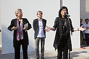 54th Biennale of Venice..ILLUMInazioni - ILLUMInations.Giardini, Austrian Pavillion..Markus Schinwald, 2011..Opening Ceremony..From l.: Claudia Schmied, Austrian Minister of Education, Culture and Art; Markus Schinwald; Curator Eva Schlegel.