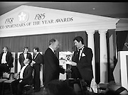 "28th Texaco Sportstar of the Year..1986..15.01.1986..01.15.1986..15th January 1986..At a banquet in the Burlington Hotel,Dublin, the presentation of awards for ""Sportstar"" of the Year were made. The presentation was carried out by the Tanaiste, Mr Dick Spring TD. The awards were made to the top ten sports people as selected by a panel of judges...Image shows the Tanaiste,Mr Dick Spring TD awarding the Rugby Hall of Fame award to Mr Karl Mullen,one of Irelands' greatest ever rugby players."