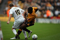 Photo: Rich Eaton.<br /> <br /> Wolverhampton Wanderers v Luton Town. Coca Cola Championship. 26/08/2006. Rohan Ricketts right of Wolves and Rohan Ricketts of Luton tackle