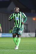Bayo Akinfenwa of AFC Wimbledon during the Sky Bet League 2 match between Newport County and AFC Wimbledon at Rodney Parade, Newport, Wales on 19 December 2015. Photo by Stuart Butcher.