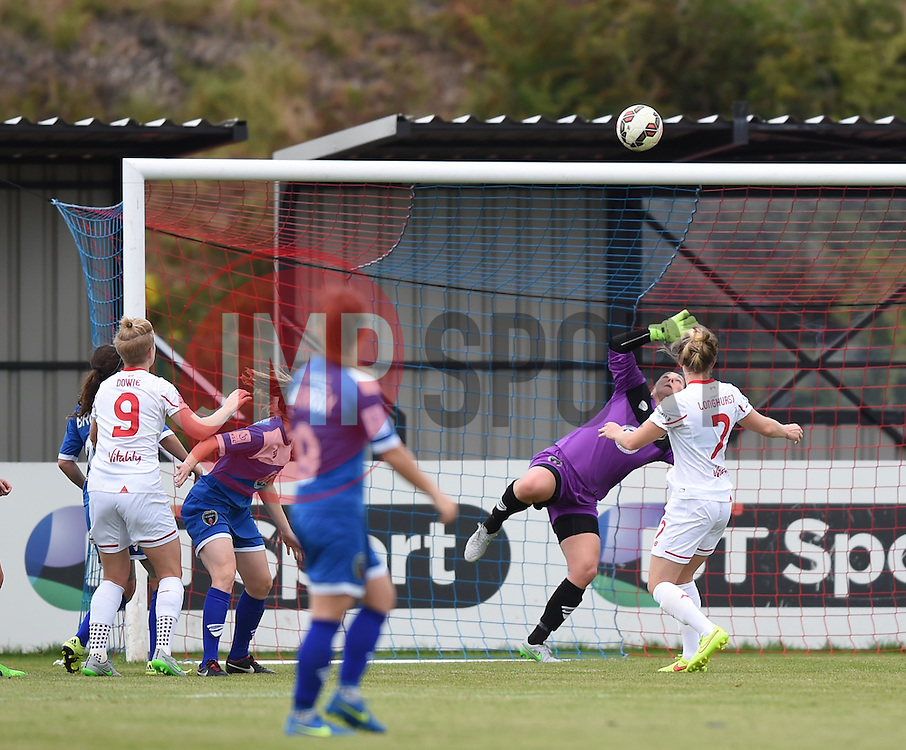 Natasha Dowie of Liverpool Ladies scores against Bristol Academy Women - Mandatory by-line: Paul Knight/JMP - Mobile: 07966 386802 - 13/09/2015 -  FOOTBALL - Stoke Gifford Stadium - Bristol, England -  Bristol Academy Women v Liverpool Ladies FC - FA WSL Continental Tyres Cup