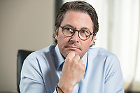 03 JUL 2019, BERLIN/GERMANY:<br /> Andreas Scheuer, CSU, Bundesminister fuer Verkehr und digitale Infrastruktur, waehrend einem Interview, in seinem Buero, Bundesministerium fuer Verkehr und digitale Infrastruktur<br /> IMAGE: 20190703-01-014