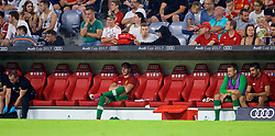 MUNICH, GERMANY - Tuesday, August 1, 2017: Liverpool's goalkeeper Danny Ward cuts a lonely figure on the substitute's bench during the Audi Cup 2017 match between FC Bayern Munich and Liverpool FC at the Allianz Arena. (Pic by David Rawcliffe/Propaganda)