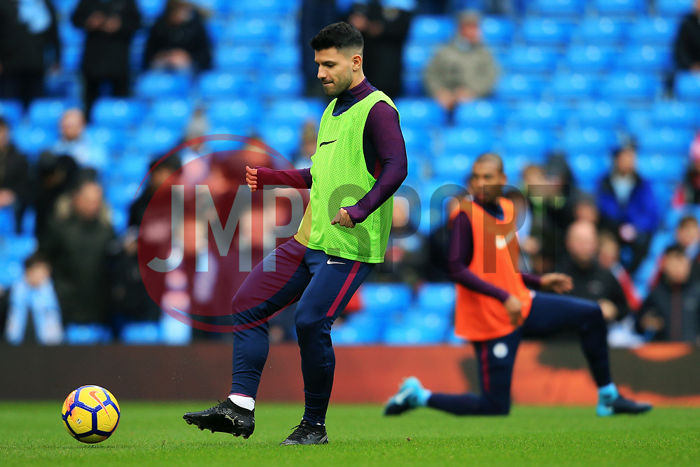 Sergio Aguero of Manchester City warms up - Mandatory by-line: Matt McNulty/JMP - 23/12/2017 - FOOTBALL - Etihad Stadium - Manchester, England - Manchester City v Bournemouth - Premier League