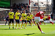 The Blackburn wall stands firm after an early free kick from Nottingham Forest midfielder Matthew Cash (14)  during the EFL Sky Bet Championship match between Nottingham Forest and Blackburn Rovers at the City Ground, Nottingham, England on 13 April 2019.
