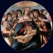 Sandro Botticelli (c. 1445 – 1510) Italian painter of the Florentine school during the Early Renaissance, 'Madonna and child 'Madonna and Child with Eight Angels 1478; Tempera on panel; Staatliche Museen Preubischer Kulturbesitz Gemaldegalerie, Berlin, Germany.