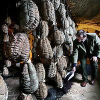 Italie,Parma ,Polisine Parmense,27 december 2006..Culatello ham fabrikant Massimo Spigaroli voegt geperste wijndruiven toe aan de bestervende culatello hammen specifiek om een wijnsmaak toe te voegen..Foto:Jean-Pierre Jans