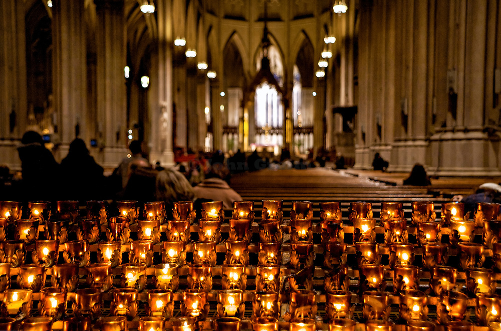 Votive candles in catholic church, St Patrick's Cathedral, NYC