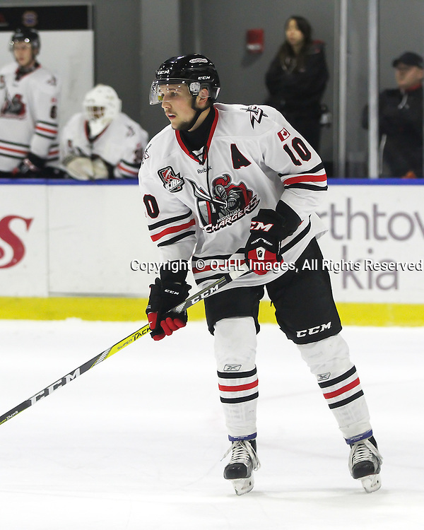 BUFFALO, NY - SEP 28,  2016: Ontario Junior Hockey League game between Mississauga and Markham , Kyler Matthews #10 of the Mississauga Chargers during the first period.<br /> (Photo by Ray MacAloney / OJHL Images)