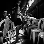 Tension dans la piscine, juste avant le début des competitions, aux  Jeux Nationaux Special Olympics 2017 d'Italie, pour handicappés mentaux