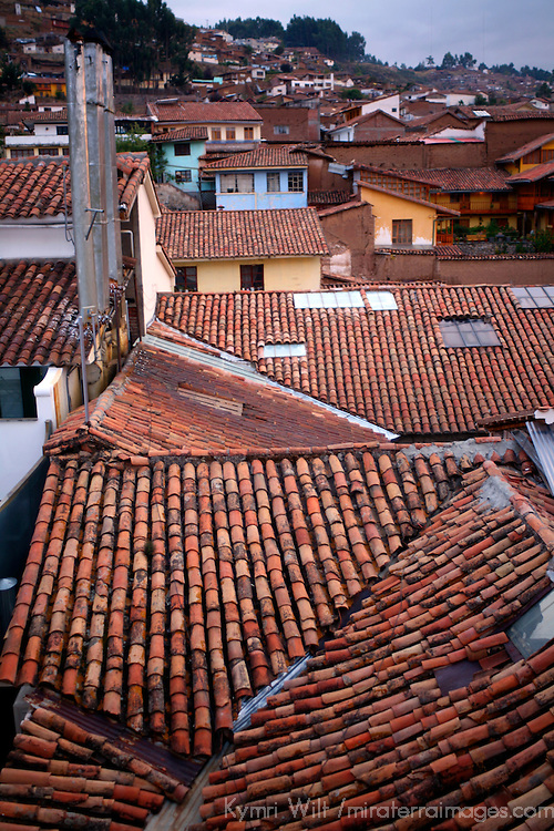 South America, Peru, Cusco. Red-tiled rooftops of Cusco, A UNESCO World Heritage City.