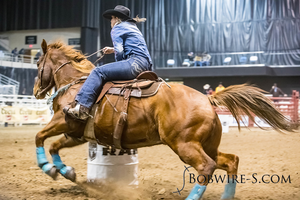Barrel racer Amanda Lundquist makes her run during slack at the Bismarck Rodeo on Saturday, Feb. 3, 2018. She had a time of 13.50 seconds. This photo and more from most runs are available at Bobwire-S.com.