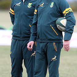 DURBAN, SOUTH AFRICA - JUNE 10: Johann van Graan Forwards Coach of South Africa with Heyneke Meyer (Head Coach) of South Africa during the South African National rugby team training session at Northwood High School on June 10, 2014 in Durban, South Africa. (Photo by Steve Haag/Gallo Images)