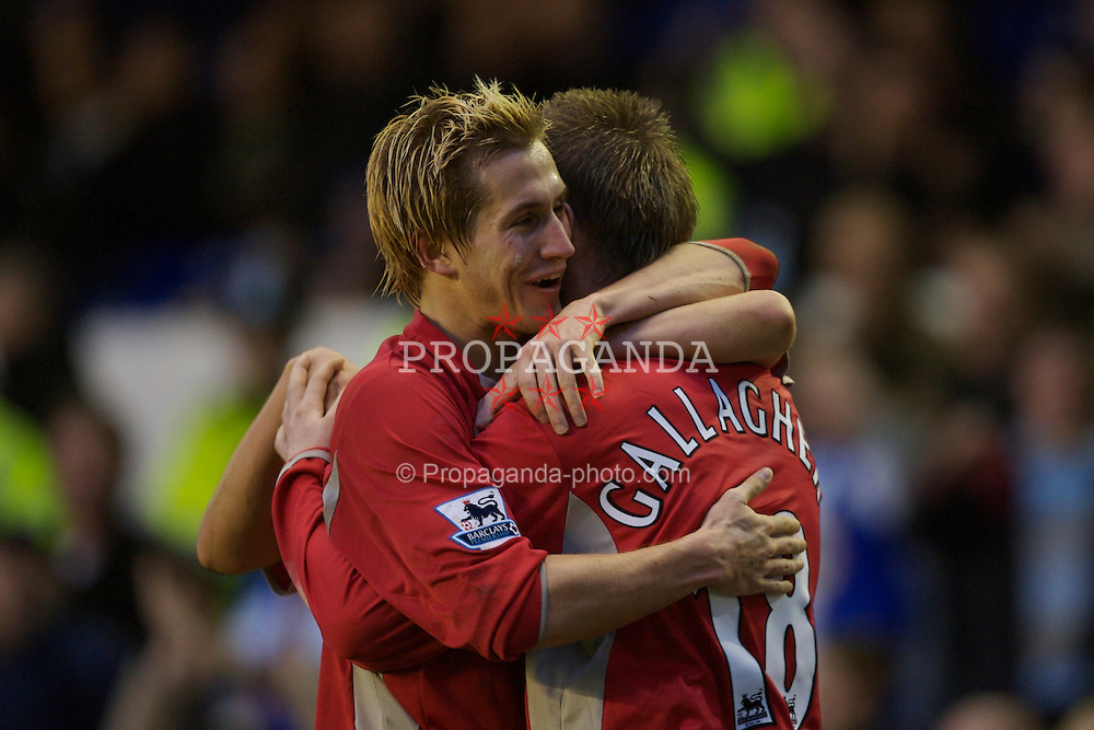 Liverpool, England - Sunday, January 7, 2007: Blackburn Rovers' Paul Gallagher celebrates scoring the third goal against Everton with his team-mate Morten Gamst Pedersen during the FA Cup 3rd Round match at Goodison Park. (Pic by David Rawcliffe/Propaganda)