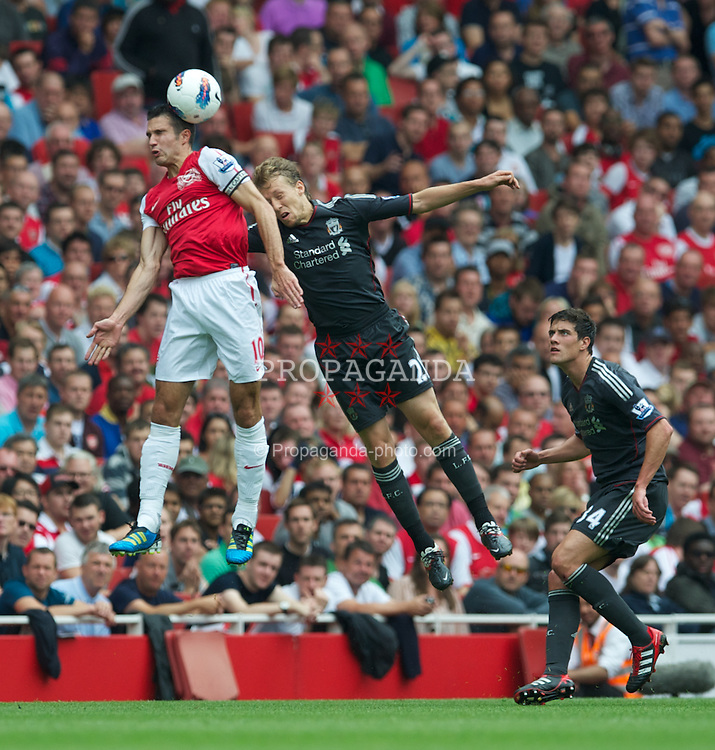 LONDON, ENGLAND - Saturday, August 20, 2011: Liverpool's Lucas Leiva in action against Arsenal's Robin Van Persie during the Premiership match at the Emirates Stadium. (Pic by David Rawcliffe/Propaganda)
