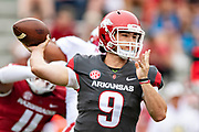 FAYETTEVILLE, AR - MARCH 6:   John Stephen Jones #9 of the Arkansas Razorbacks throws a pass during the annual Spring Game at Razorback Stadium on March 6, 2019 in Fayetteville, Arkansas.  (Photo by Wesley Hitt/Getty Images) *** Local Caption *** John Stephen Jones