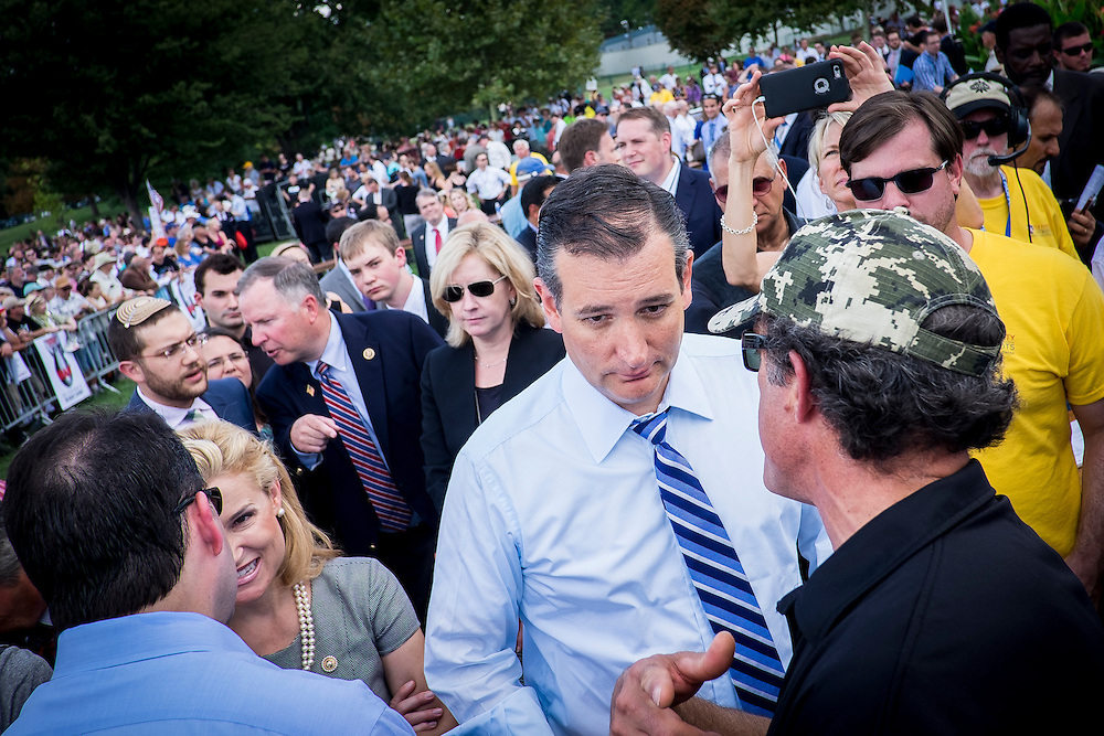 Senator and Republican Presidential Candidate Ted Cruz (R-TX) speaks to supporters during a protest event against President Obama's nuclear deal with Iran sponsored by they activist group Tea Party Patriots in Washington, District of Columbia, U.S., on Wednesday, Sept. 9, 2015. Republicans have condemned the agreement, saying it will not prevent Iran from obtaining nuclear weapons.