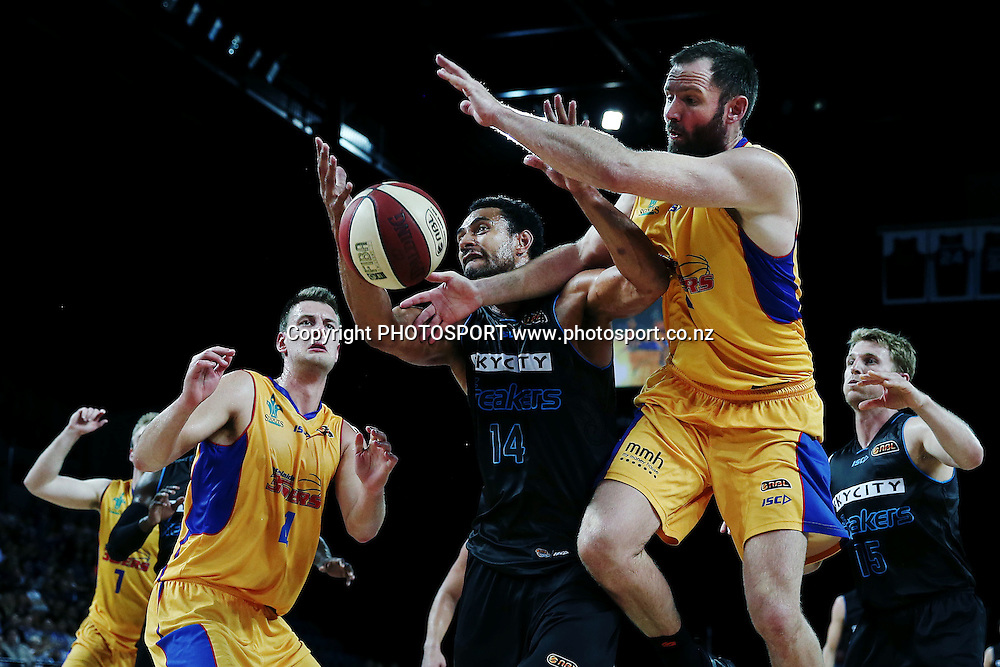 Mika Vukona of the Breakers competes for a rebound against Anthony Petrie of the 36ers. 2014/15 ANBL, SkyCity Breakers vs Adelaide 36ers, Vector Arena, Auckland, New Zealand. Thursday 12 February 2015. Photo: Anthony Au-Yeung / www.photosport.co.nz