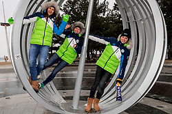 Tina Robnik, Marusa Ferk and Ana Bucik of Slovenia pose for photos in front of an art installation at Gyeongpo beach in Gangneung, during the Pyeongchang 2018 Winter Olympic Games on February 24, 2018.  Photo by Ronald Hoogendoorn / Sportida