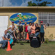 AUGUST 27, 2018--VIEQUES---PUERTO RICO--<br /> Maximiliano Ramery, Helen Wilson, Jeronimo Candela, Sandra Melendes, Ricardo Jordan, Juliana Ramos, Isabel Porfil, Hilda Bonilla, with supplies delivered by Mercy Corps.<br /> (Photo by Angel Valentin/Freelance)