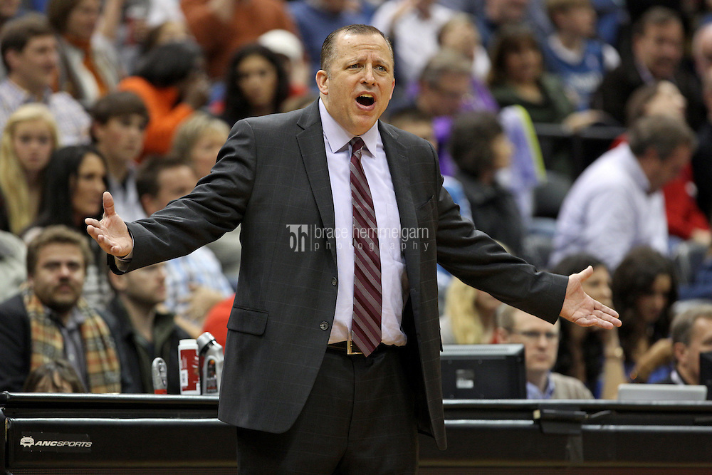 Nov 1, 2014; Minneapolis, MN, USA; Chicago Bulls head coach Tom Thibodeau argues a call during the first quarter against the Minnesota Timberwolves at Target Center. The Bulls defeated the Timberwolves 106-105. Mandatory Credit: Brace Hemmelgarn-USA TODAY Sports
