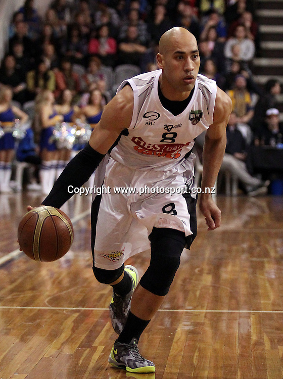 Paora Winitana of the Hawks looks at his options.<br /> NBL - OceanaGold Nuggets v HBS Bank Hawks, 24 May 2013, Lion Foundation Arena, Edgar Centre, Dunedin, New Zealand.<br /> Photo: Rob Jefferies / photosport.co.nz