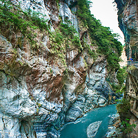 The marble-lined Swallow's Grotto in Taroko Gorge, Taiwan.<br />