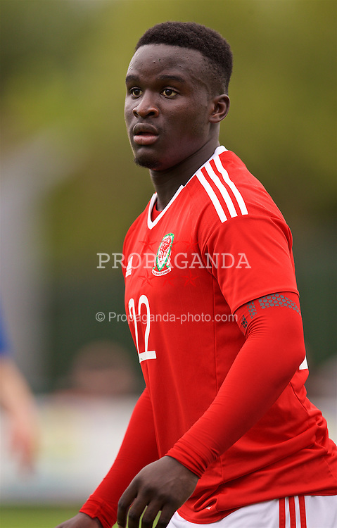NEWPORT, WALES - Tuesday, September 6, 2016: Wales' Ibrahim Sosani in action against Iceland during the International Friendly match at Dragon Park. (Pic by David Rawcliffe/Propaganda)