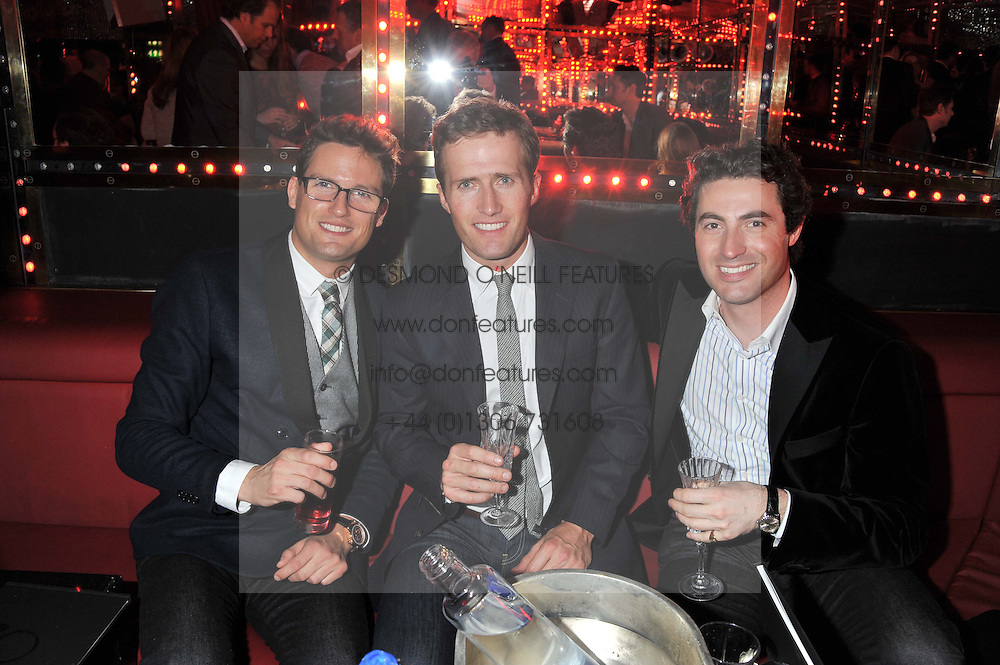 Left to right, members of Blake STEPHEN BOWMAN, HUMPHREY BERNEY and OLLIE BAINES at the ELEQT Global Launch Party held at the Rose club, 23 Orchard Street, London, W1 on 23rd February 2012. ELEQT is the world's most exclusive international luxury lifestyle social network.