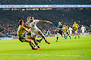 Twickenham, United Kingdom, Saturday, 24th  November 2018, RFU, Rugby, Stadium, England, Right, Joe COKANASIGA, running w ith the ball, is hed up before the line,  during  the Quilter Autumn International, England vs Australia, © Peter Spurrier