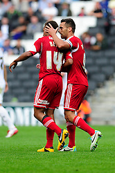 Bristol City captain, Sam Baldock scores a goal and thanks Bristol City's Bobby Reid for the assist  - Photo mandatory by-line: Dougie Allward/JMP - Tel: Mobile: 07966 386802 24/08/2013 - SPORT - FOOTBALL - Stadium MK - Milton Keynes -  Milton Keynes Dons V Bristol City - Sky Bet League One