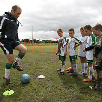 Darragh Connelly showing how its done at  the FAI Soccer Camp at Ballycasey on Friday last.<br /> <br /> Photograph by Eamon Ward