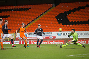 United keeper Deniz Mehmet saves from Jack Lambert of Dundee - Dundee United v Dundee, SPFL Under 20 Development League at Tannadice Park, Dundee<br /> <br />  - &copy; David Young - www.davidyoungphoto.co.uk - email: davidyoungphoto@gmail.com