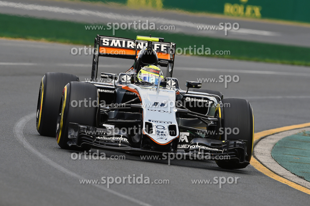 18.03.2016, Albert Park Circuit, Melbourne, AUS, FIA, Formel 1, Grand Prix von Australien, Training, im Bild Sergio Perez (MEX) Force India VJM09 // during Practice for the FIA Formula One Grand Prix of Australia at the Albert Park Circuit in Melbourne, Australia on 2016/03/18. EXPA Pictures &copy; 2016, PhotoCredit: EXPA/ Sutton Images/ Andre/<br /> <br /> *****ATTENTION - for AUT, SLO, CRO, SRB, BIH, MAZ only*****